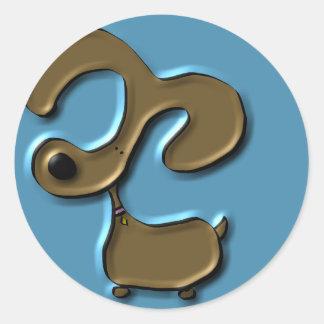 Cutie Dog Round Stickers