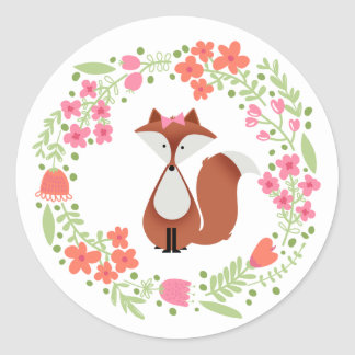 Cutie Fox Floral Wreath Round Sticker