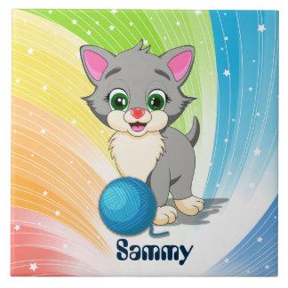 Cutie Grey Kitten Cartoon Large Square Tile