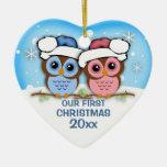 Cutie Owl Couple First Christmas Ornament Ceramic Heart Ornament