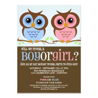 Cutie Owls Gender Reveal Party Invitation Invitation
