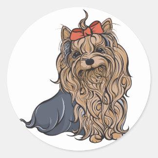 Cutie Pa-tootie Yorkie Round Sticker