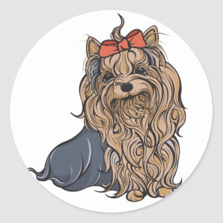 Cutie Pa-tootie Yorkie Round Stickers