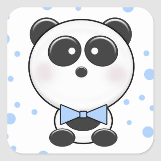 Cutie Panda Boy Sticker Square Sticker