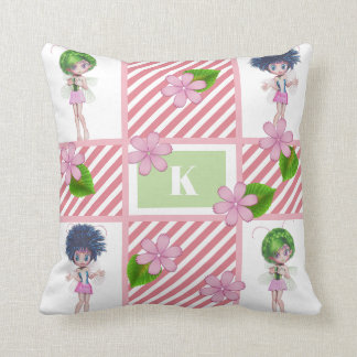 Cutie Patootie Fairies & Stripes Name on Back Cushion
