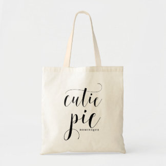 Cutie Pie Black Modern Calligraphy Personalized Tote Bag