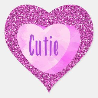 Cutie Pink Candy Heart Faux Glitter Heart Sticker