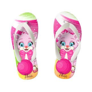Cutie Pink Kitten Cartoon Thongs