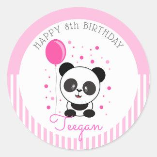Cutie Pink Panda Birthday Classic Round Sticker