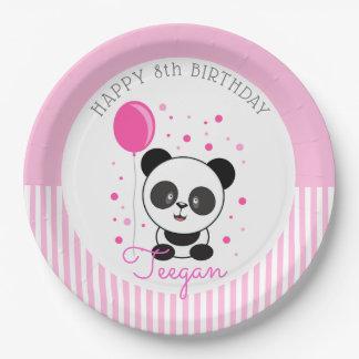 Cutie Pink Panda Birthday Paper Plate