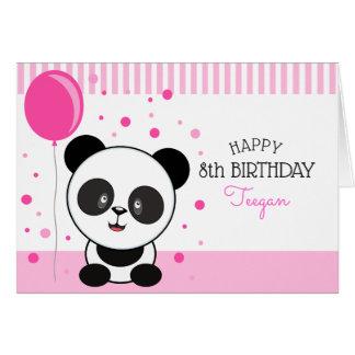 Cutie Pink Panda Personalized Birthday Greeting Card