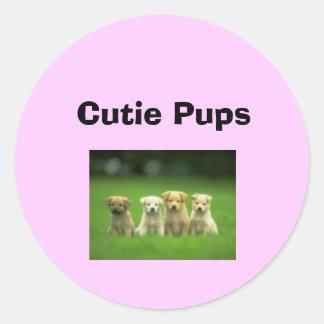 Cutie Pupps Round Stickers
