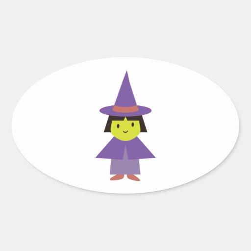 Cutie Witch Oval Stickers