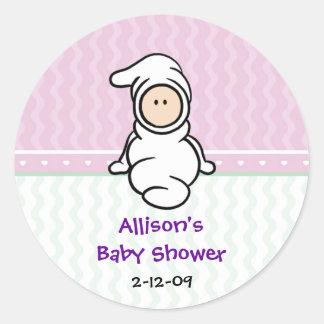 Cutietoots Baby in White Shower Favor Sticker