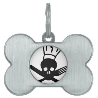 cutlery skull with chef hat cook icon pet ID tags