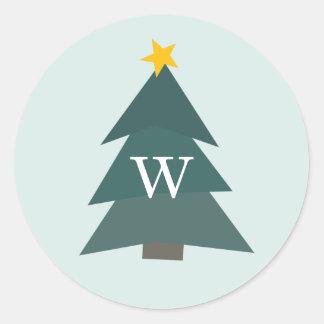 Cutout Christmas Tree | Holiday Monogram Classic Round Sticker