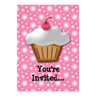 Cutout Cupcake with Pink Cherry on Top 13 Cm X 18 Cm Invitation Card