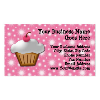 Cutout Cupcake with Pink Cherry on Top Business Card Template