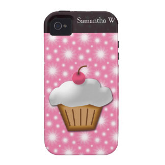 Cutout Cupcake with Pink Cherry on Top iPhone 4 Cases