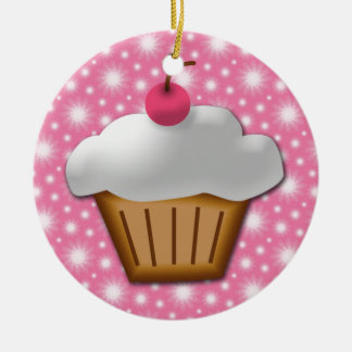 Cutout Cupcake with Pink Cherry on Top Ceramic Ornament