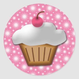 Cutout Cupcake with Pink Cherry on Top Classic Round Sticker