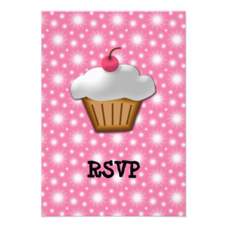 Cutout Cupcake with Pink Cherry on Top Invite