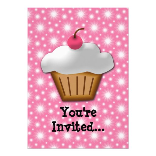 Cutout Cupcake with Pink Cherry on Top Personalized Announcement