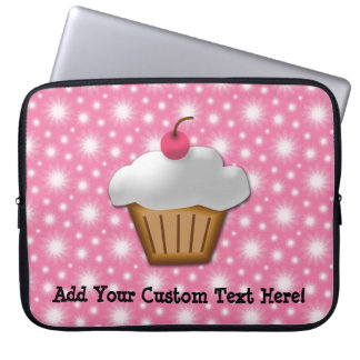 Cutout Cupcake with Pink Cherry on Top Laptop Sleeves