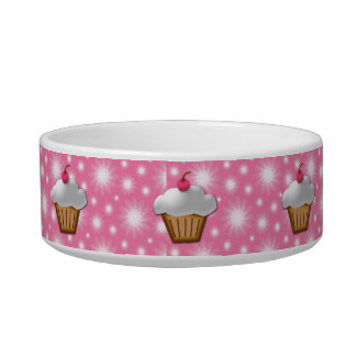 Cutout Cupcake with Pink Cherry on Top Cat Bowl