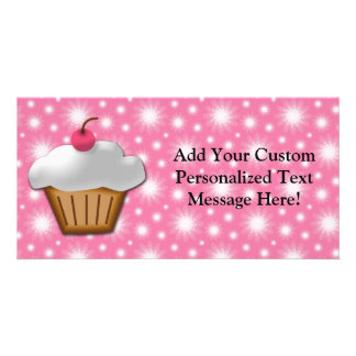 Cutout Cupcake with Pink Cherry on Top Picture Card