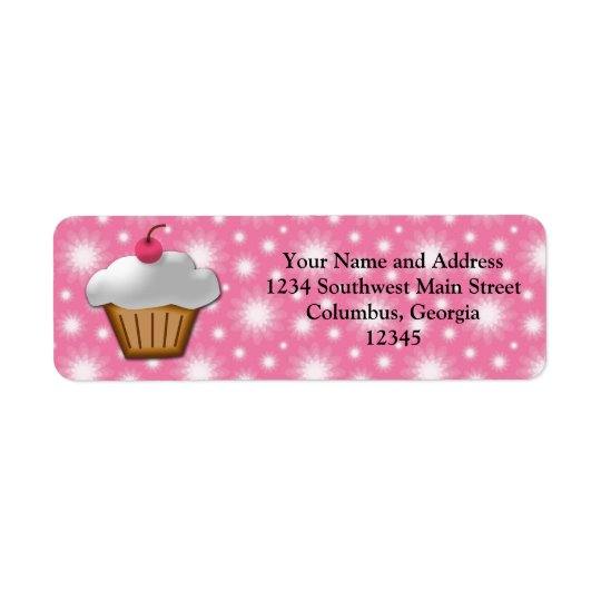 Cutout Cupcake with Pink Cherry on Top Return Address Label