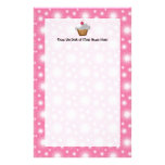 Cutout Cupcake with Pink Cherry on Top Personalized Stationery