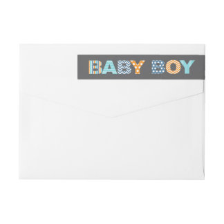 Cutout Letters Baby Boy Shower Wraparound Label