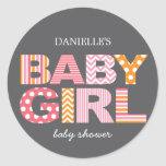 Cutout Letters Baby Shower Favour Sticker - Pink