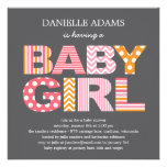 Cutout Letters Baby Shower Invitation - Girl