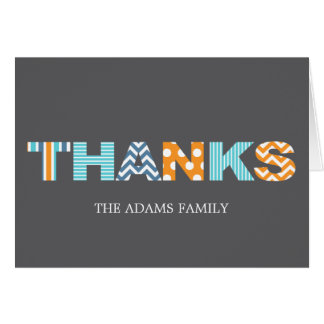 Cutout Letters Baby Thank You Card - Blue