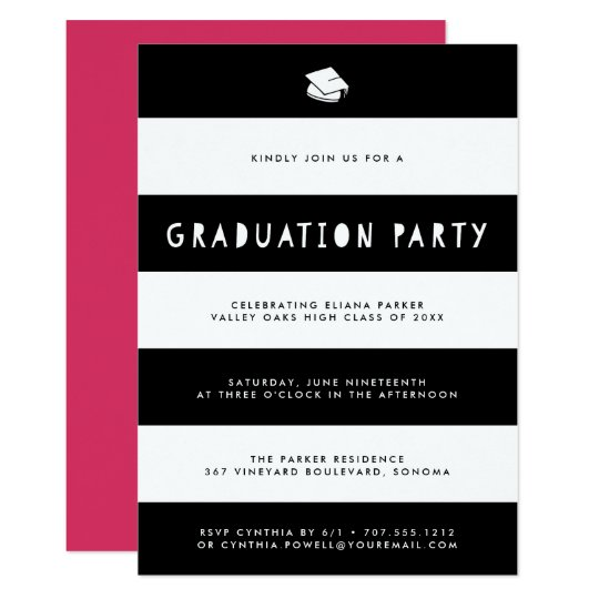 Cutout Stripe Graduation Party Invitation | Black