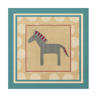 Cutout Zebra on Cream Background Wood Wall Art