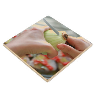 Cutting an onion wood coaster