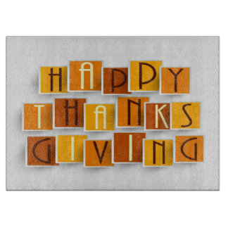Cutting Board - Happy Thanksgiving Blocked Letters