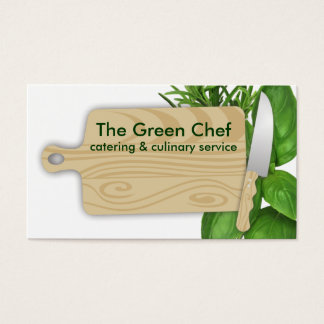 cutting board herbs chef cooking business card
