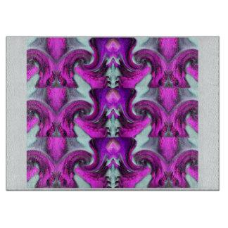 Cutting Board - Pattern on Blue, Fuschia/Purple