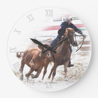 Cutting horse and calf large clock