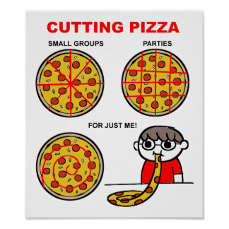 Cutting Pizza Funny Poster
