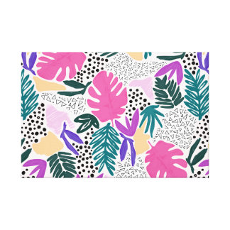 Cutting Shapes Tropical Pattern Canvas