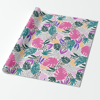 Cutting Shapes Tropical Pattern Gift Wrap