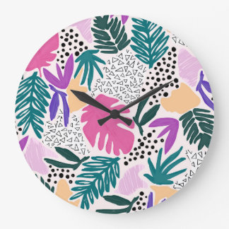 Cutting Shapes Tropical Pattern Large Clock