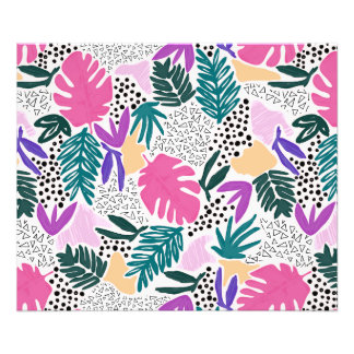 Cutting Shapes Tropical Pattern Print