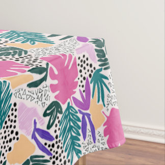 Cutting Shapes Tropical Pattern Tablecloth