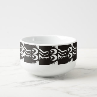 CVAN0058 Fuzzy Monster Black and White.JPG Soup Bowl With Handle